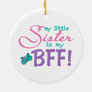 Little Sister BFF Butterfly Christmas Ornament