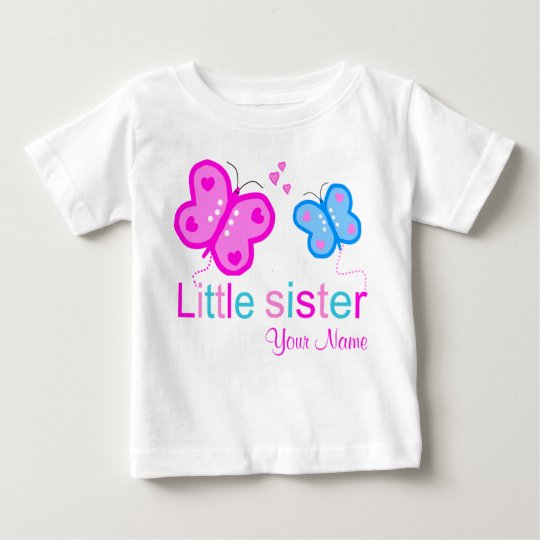 Little Sister Butterfly Personalised T shirt