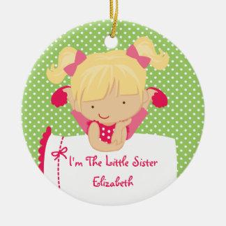Little Sister Christmas Ornament Sweet Blonde Girl