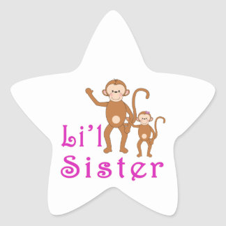 Little Sister Cute Monkeys 2 Star Sticker