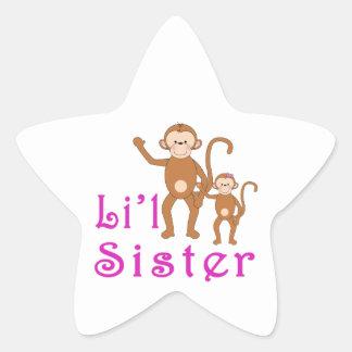 Little Sister Cute Monkeys 2 Star Sticker