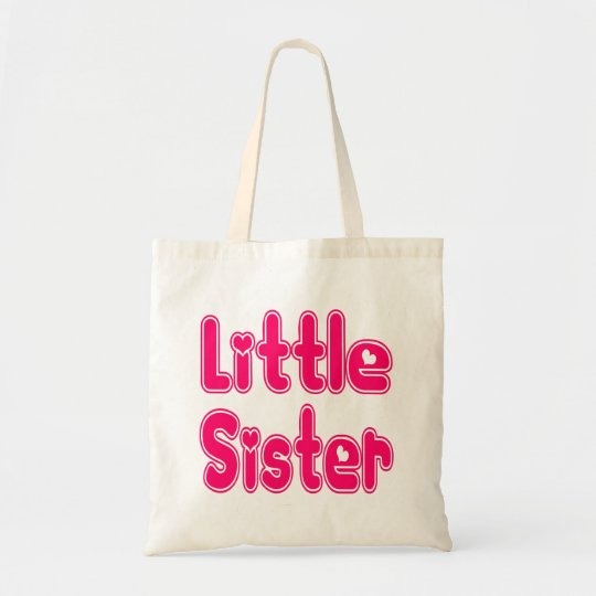 LITTLE SISTER Cute Sibling Pink Word Text Tote
