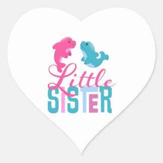 Little Sister Dolphins Heart Sticker