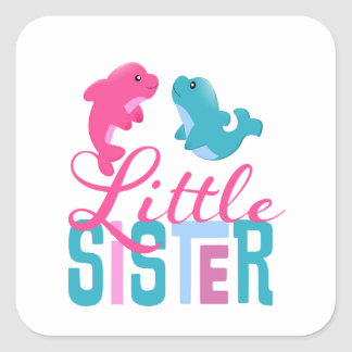 Little Sister Dolphins Square Sticker