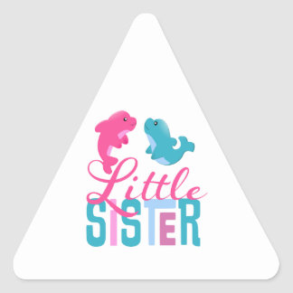 Little Sister Dolphins Triangle Sticker