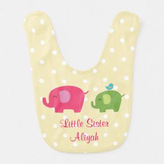 Little Sister Elephant Bird Baby Bib