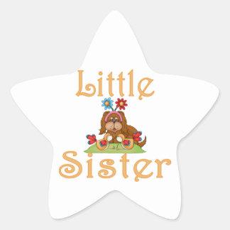 Little Sister Fluffy Pup 6 Star Sticker