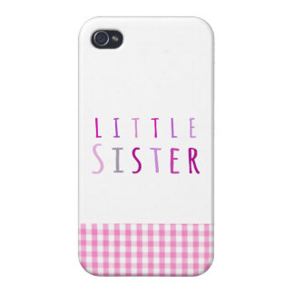 Little sister in pink cases for iPhone 4
