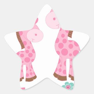 Little Sister Pink and Brown Giraffes Star Sticker