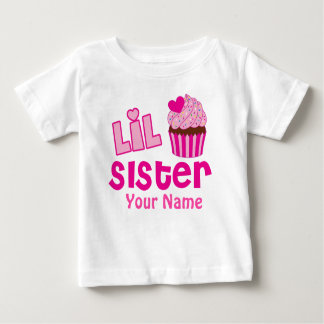Little Sister Pink Cupcake Matching Sprinkles Baby T-Shirt