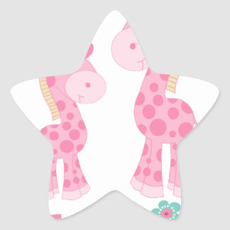 Little Sister Pink Giraffes Star Sticker