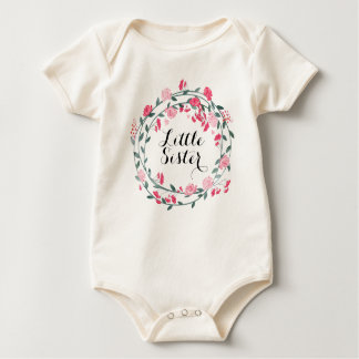 Little Sister Pink Peony Wreath Baby Girl Baby Bodysuit