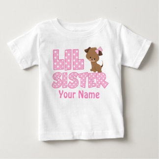 Little Sister Pink Puppy Personalized T Shirt