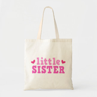 Little sister pink text with hearts cute custom budget tote bag