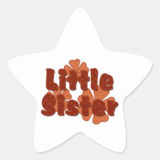 Little Sister Retro Flowers Orange Star Sticker