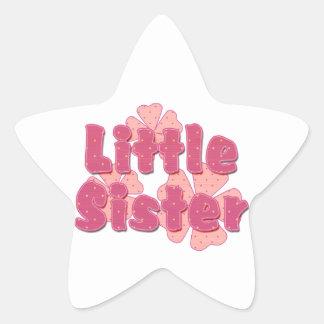 Little Sister Retro Flowers Pink 2 Star Sticker