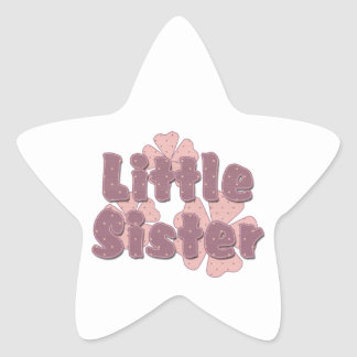 Little Sister Retro Flowers Pink Star Sticker