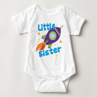 Little Sister Rocket Ship Baby Bodysuit