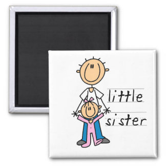 Little Sister with Big Brother T-shirts and Gifts Fridge Magnet