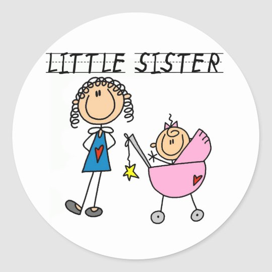 Little Sister With Big Sis Tshirts Round Sticker