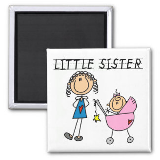 Little Sister With Big Sis Tshirts Square Magnet
