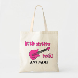 Little Sisters Rock! with Pink Guitar Budget Tote Bag