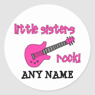 Little Sisters Rock! with Pink Guitar Classic Round Sticker