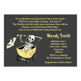Little Skeleton Baby Shower Invitation Cards