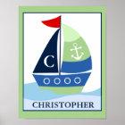 Little Skipper Sailboat Custom Name Print