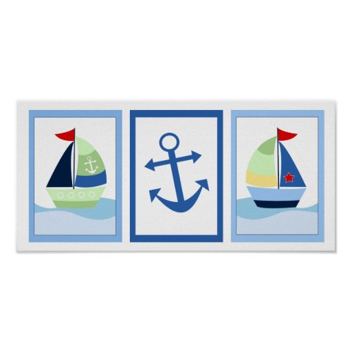 Little Skipper Sailboat Set of 3 Art Prints