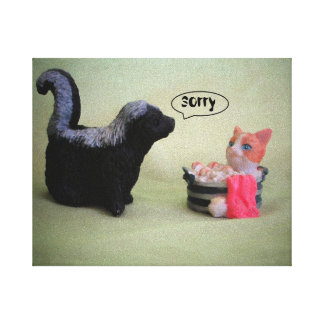 little Skunk says Sorry Gallery Wrapped Canvas