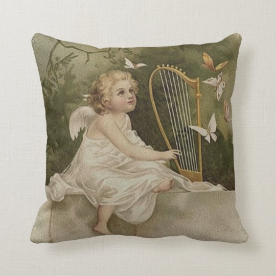 Little Smiling Angel with Butterflies and Harp Throw