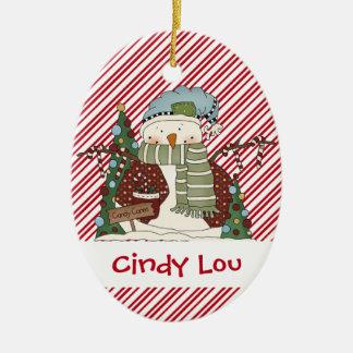 Little Snow Guys Candy Cane Snowman Cutie Christmas Ornament