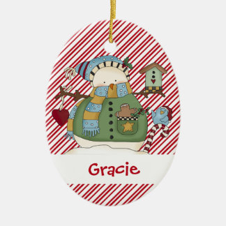 Little Snow Guys Snowman and Birdie Ceramic Oval Decoration