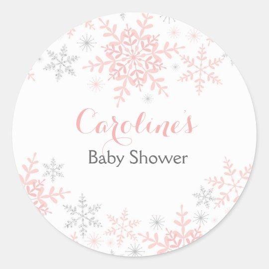 Little Snowflake Baby Shower Round Sticker
