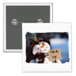 Little Snowman With Customisable Sign Pinback Button