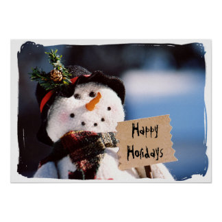 Little Snowman With Customizable Sign