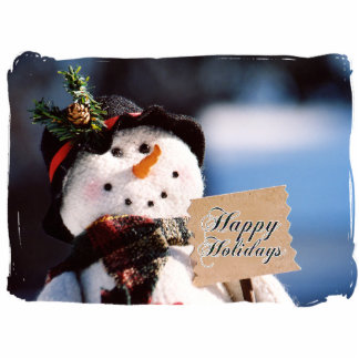 Little Snowman With Customizable Sign Cut Out