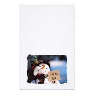 Little Snowman With Customizable Sign Stationery Paper