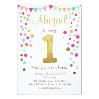 Little sparkle pink gold mint birthday invitation