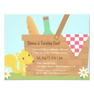 Little Squirrel Park Picnic Kids Birthday Party 4.25x5.5 Paper Invitation Card