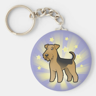 Little Star Airedale Terrier / Welsh Terrier Basic Round Button Key Ring