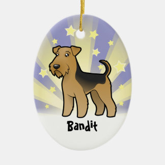Little Star Airedale Terrier / Welsh Terrier Ceramic Oval Decoration