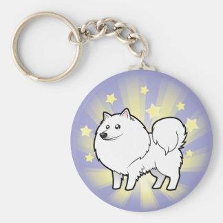 Little Star American Eskimo Dog / German Spitz Basic Round Button Key Ring