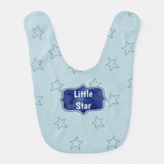 Little Star Aqua and Navy Aquarelle Bib