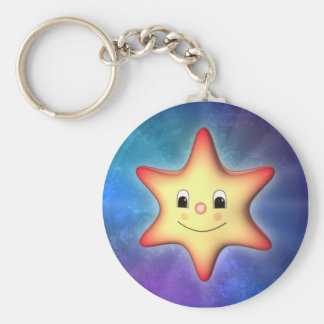 Little Star Basic Round Button Key Ring