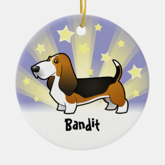 Little Star Basset Hound Round Ceramic Decoration