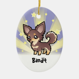 Little Star Chihuahua (long coat) Christmas Ornament