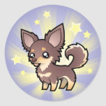 Little Star Chihuahua (long coat) Round Stickers