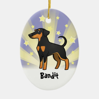 Little Star Doberman Pinscher (floppy ears) Christmas Ornament